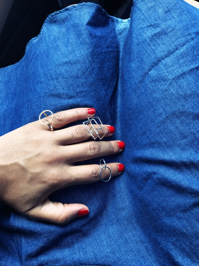 geometric shaped rings blue labels boutique
