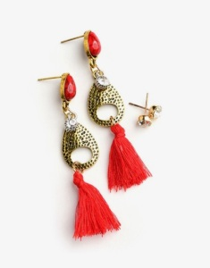 red fringe gemstone dangle earrings set blue labels boutique
