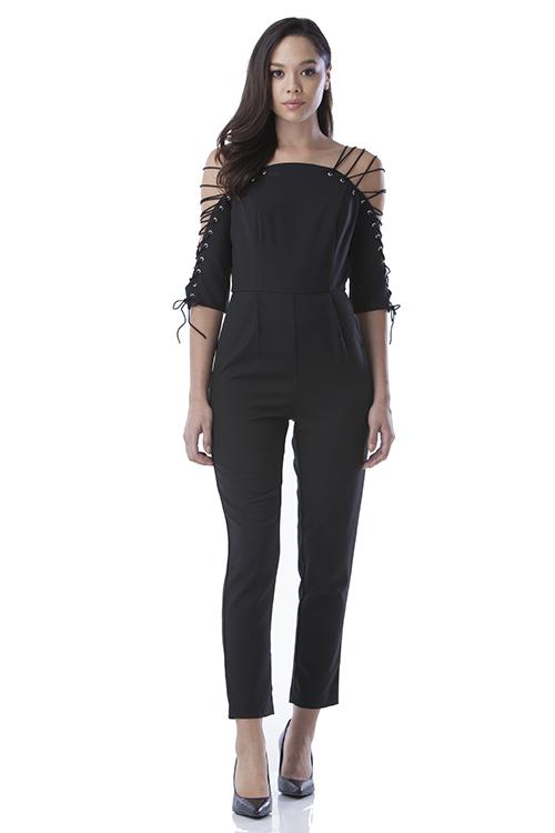 black jumper, strappy, blue labels boutique