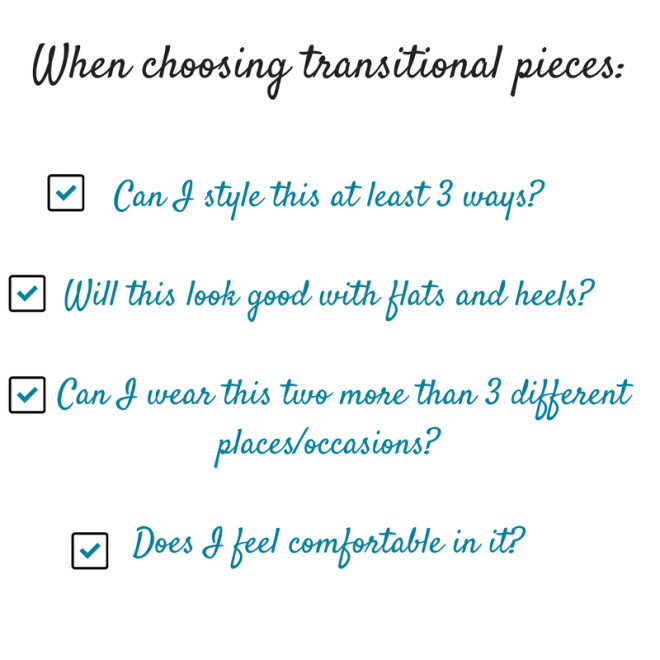 when choosing transitional pieces
