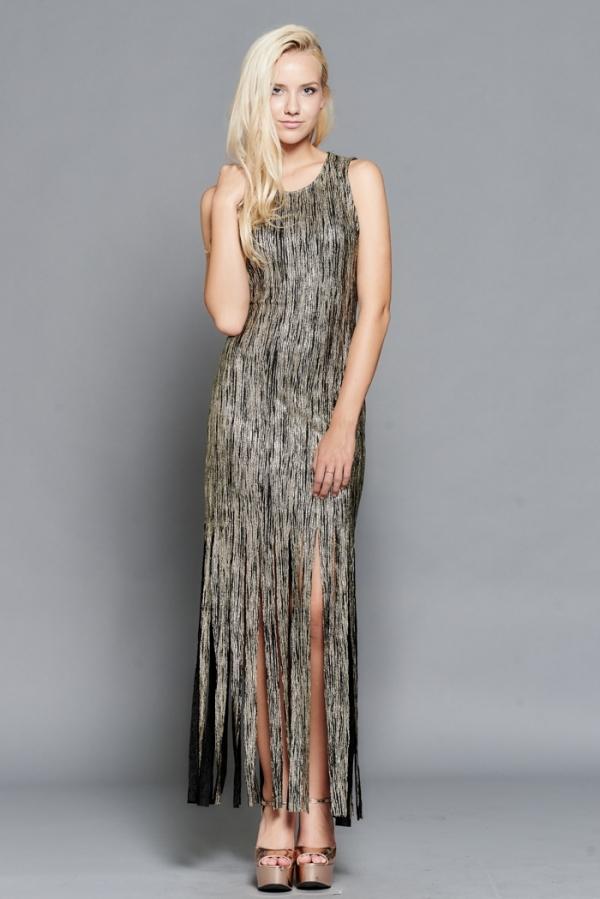 gold-black-fringe-bottom-dress