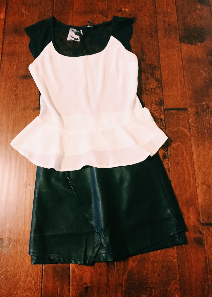black & white lace top with leather mini skirt