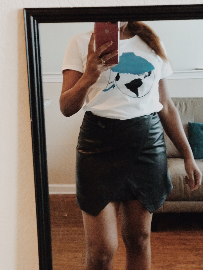 graphic fearless women tee with leather skirt