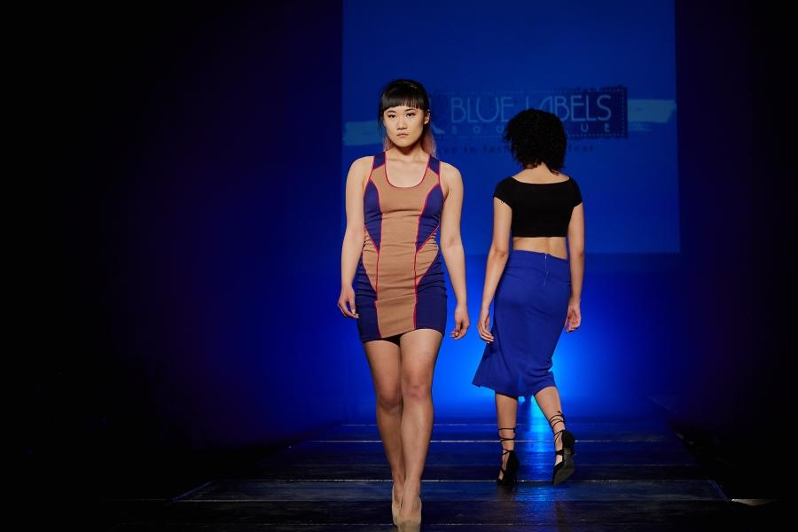 color block mini dress blue labels boutique