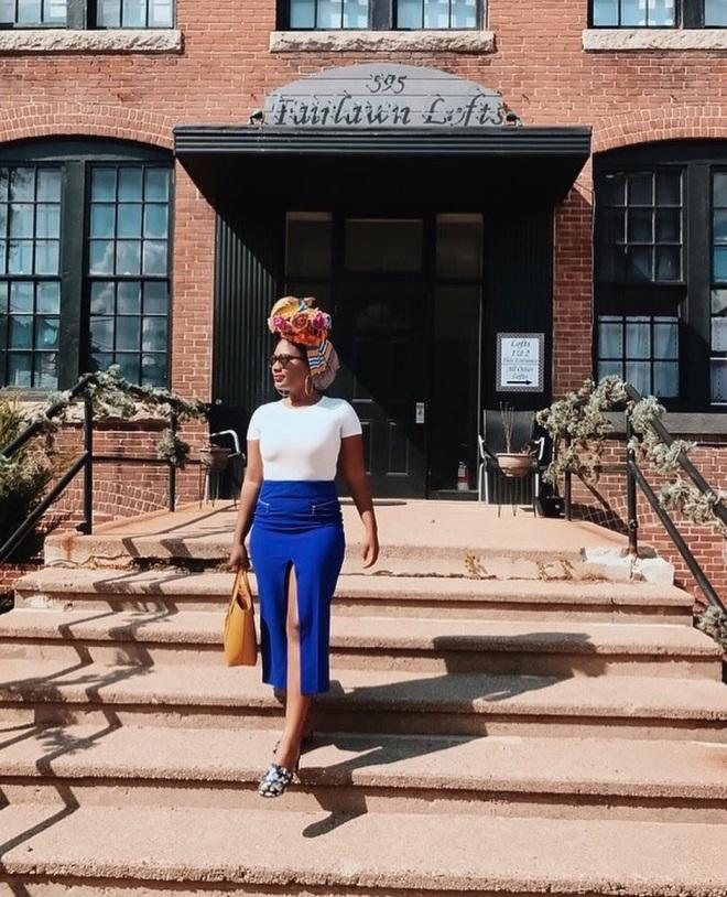 tiny hipster in blue labels boutique skirt split front skirt
