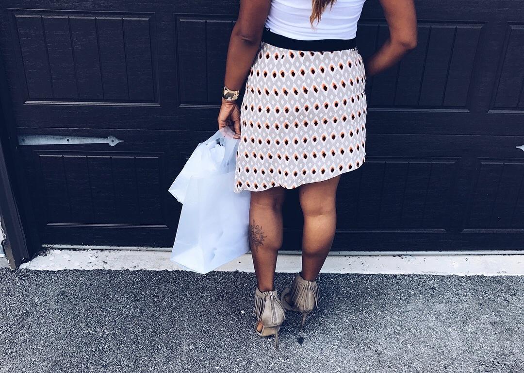 printed skirt with asymmetrical hem
