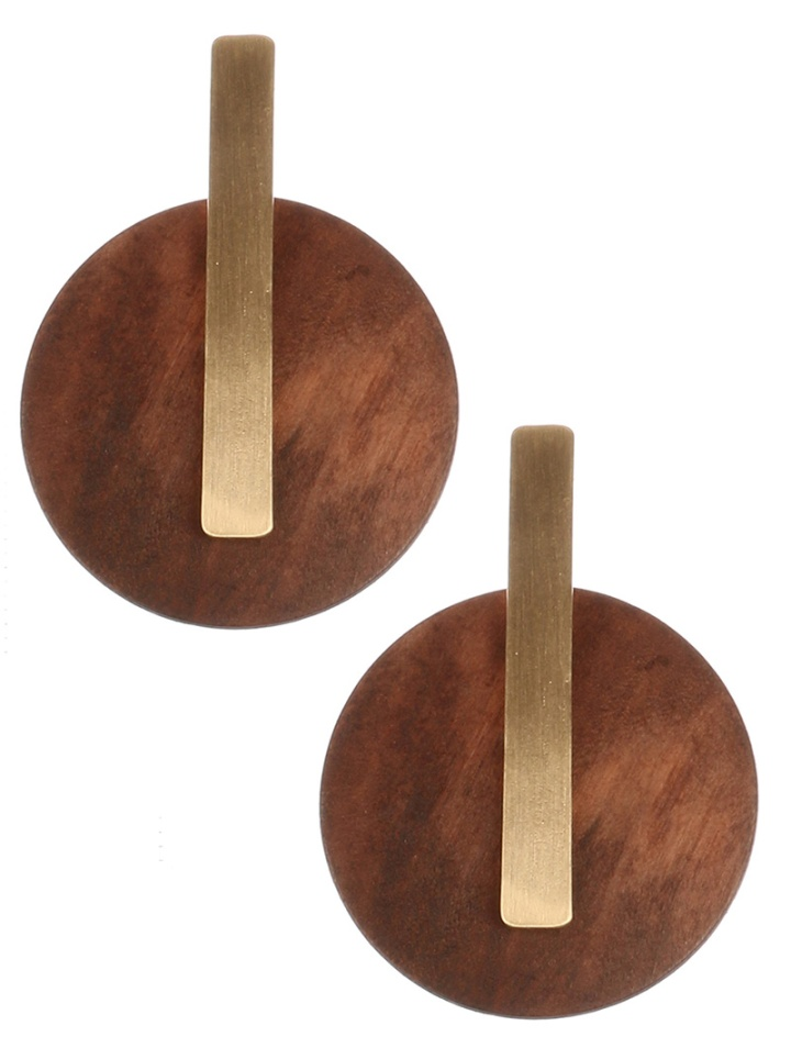 button style earrings blue labels boutique.withline