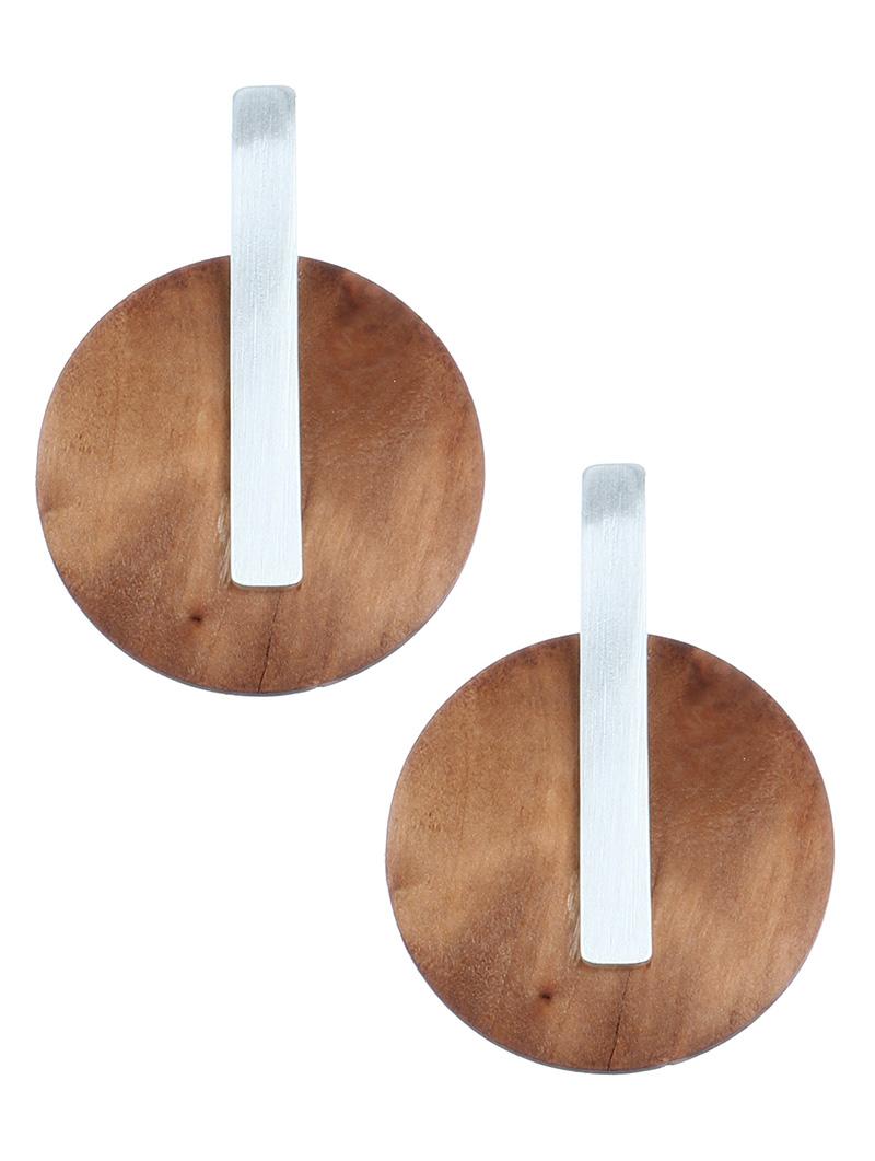 button style earrings blue labels boutique