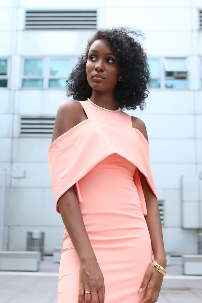 peach off the shoulder dress