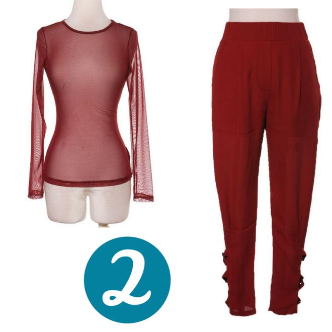 Women's burgundy Sheer top, buckled trouserd