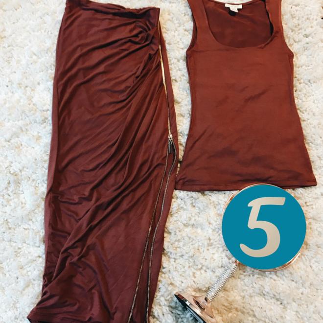 Burgundy tank and skirt set