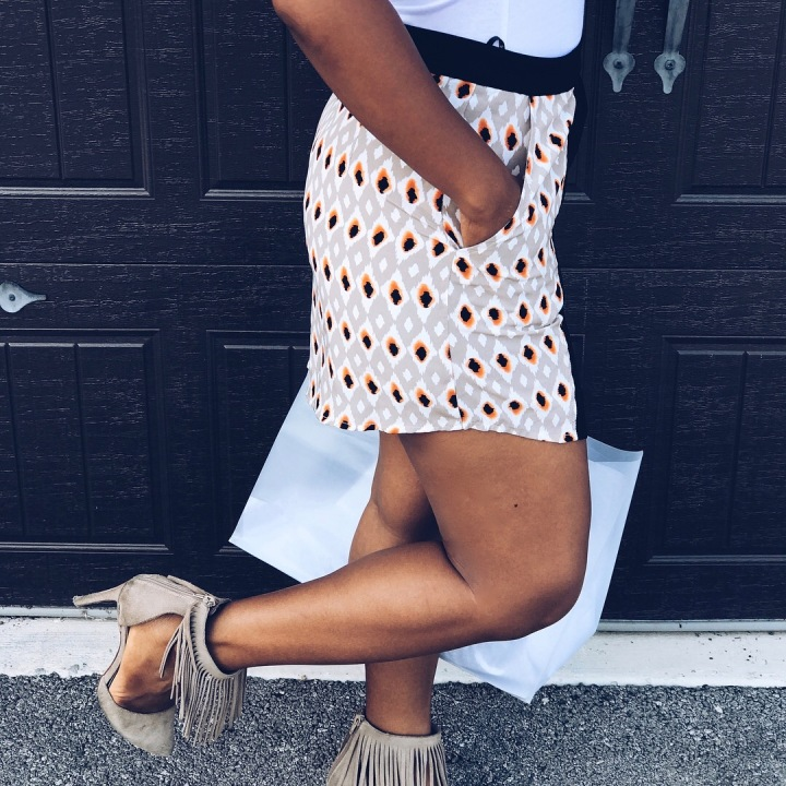 printed skirt with asymmetrical hem