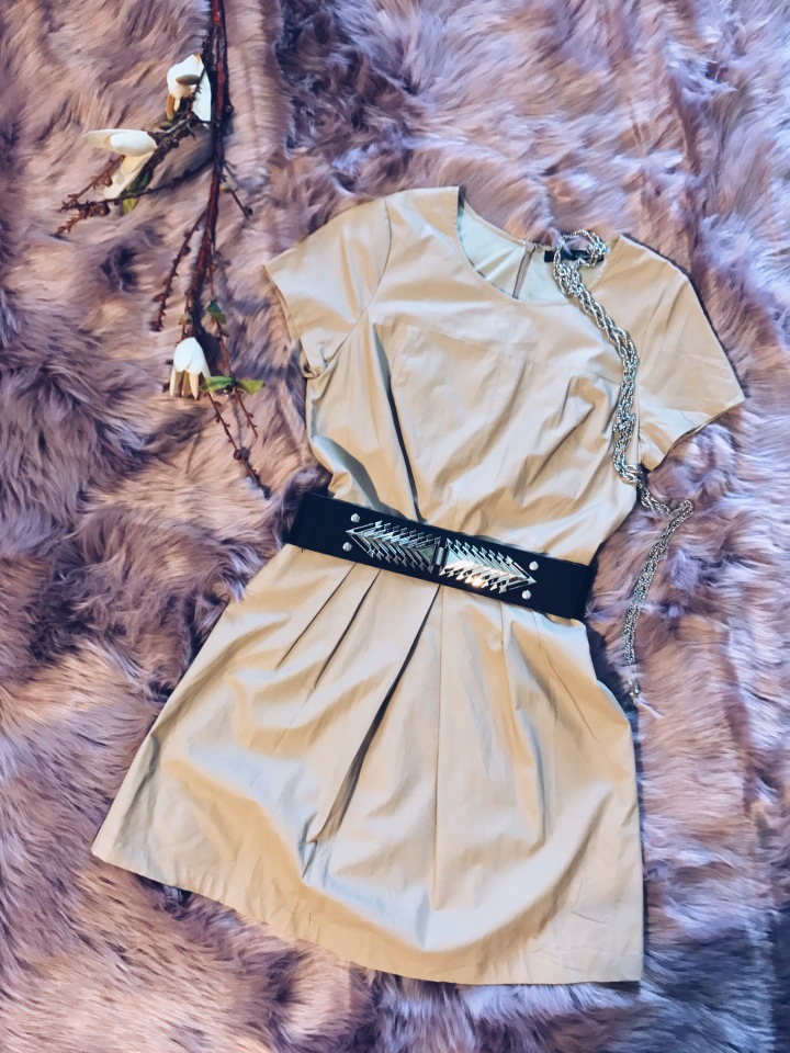 Spike belt and leather dress blue Labels Boutique