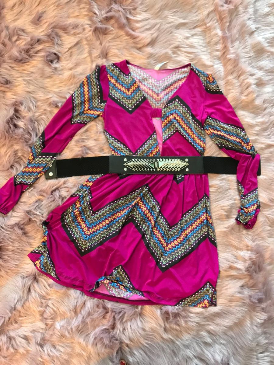 Spike belt and printed dress blue Labels Boutique