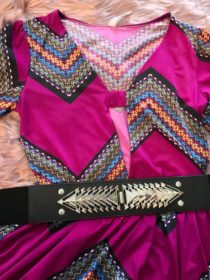 Spike belt and printed dress blue Labels Boutique
