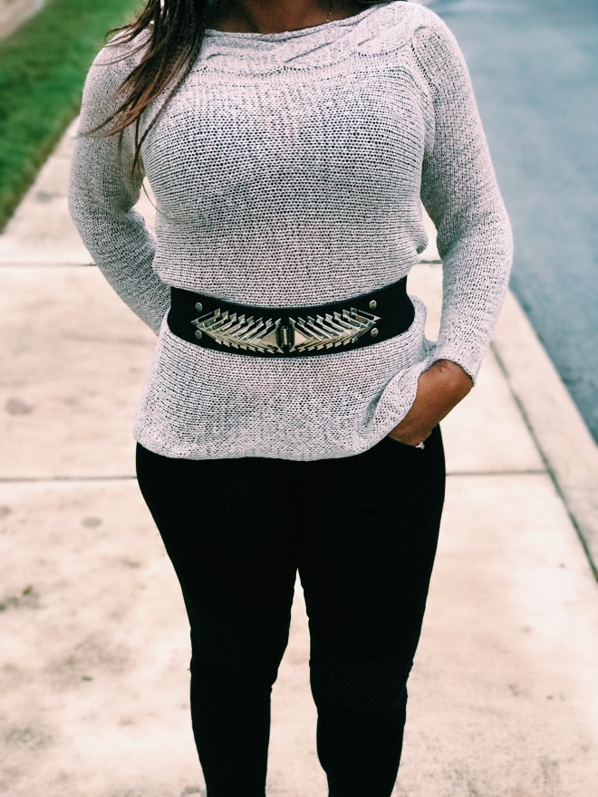 beige sweater with belt blue labels boutique