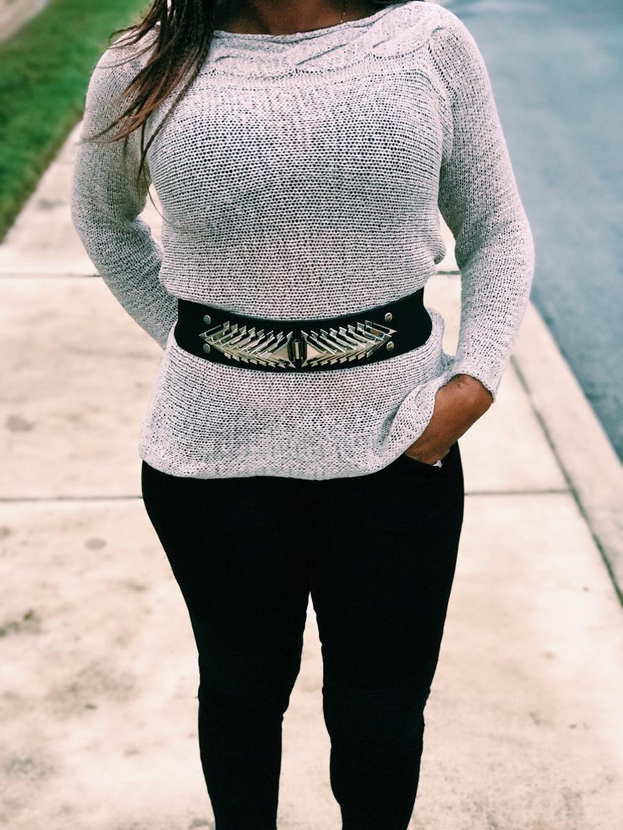 beige sweater with belt blue labels boutique