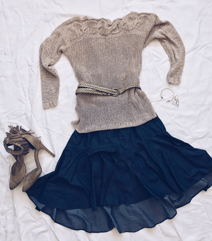 Camel Womens Sweater and Denim Dress