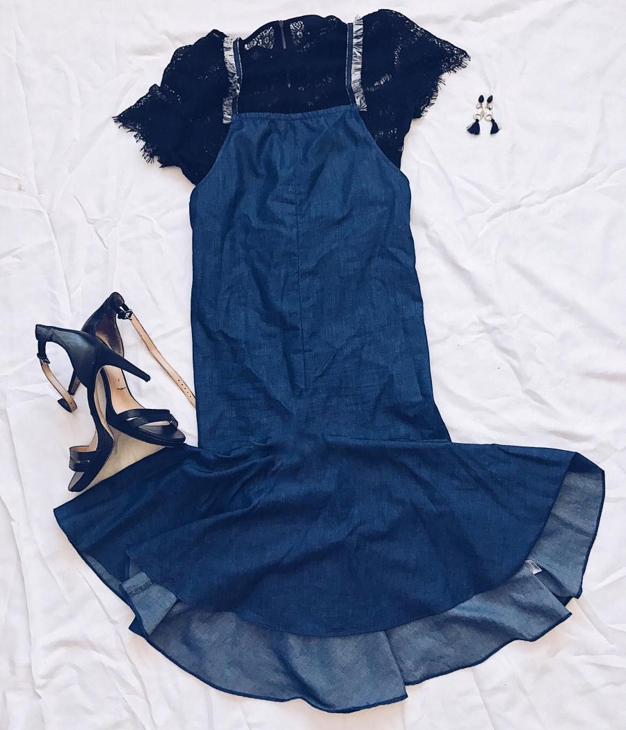 Denim Dress and Black Lace Top