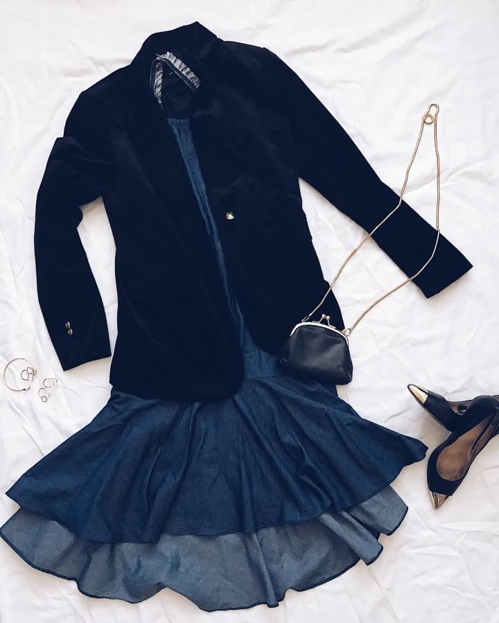 Denim Dress and Velvet Blazer