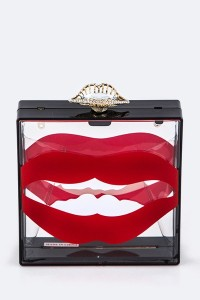 clear box red lips clutch blue labels boutique