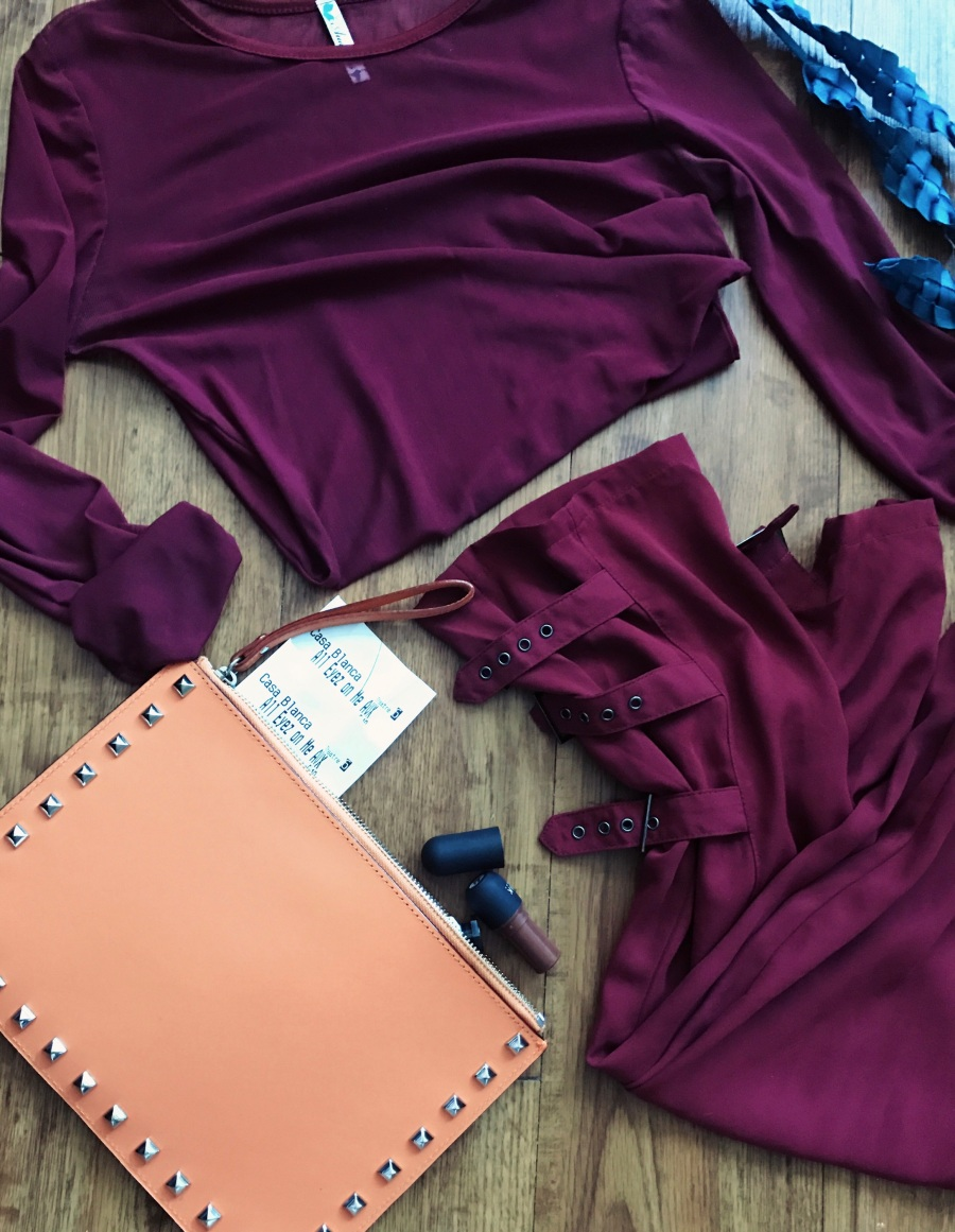 sheer top with buckle trousers burgundy