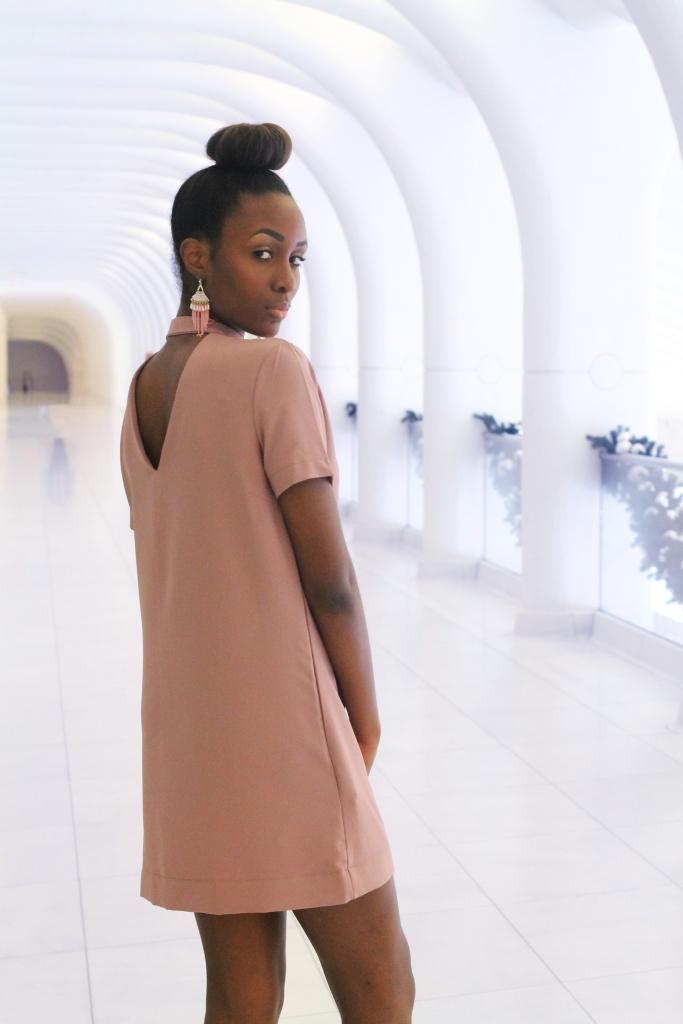 Image of pink keyhold shift Dress