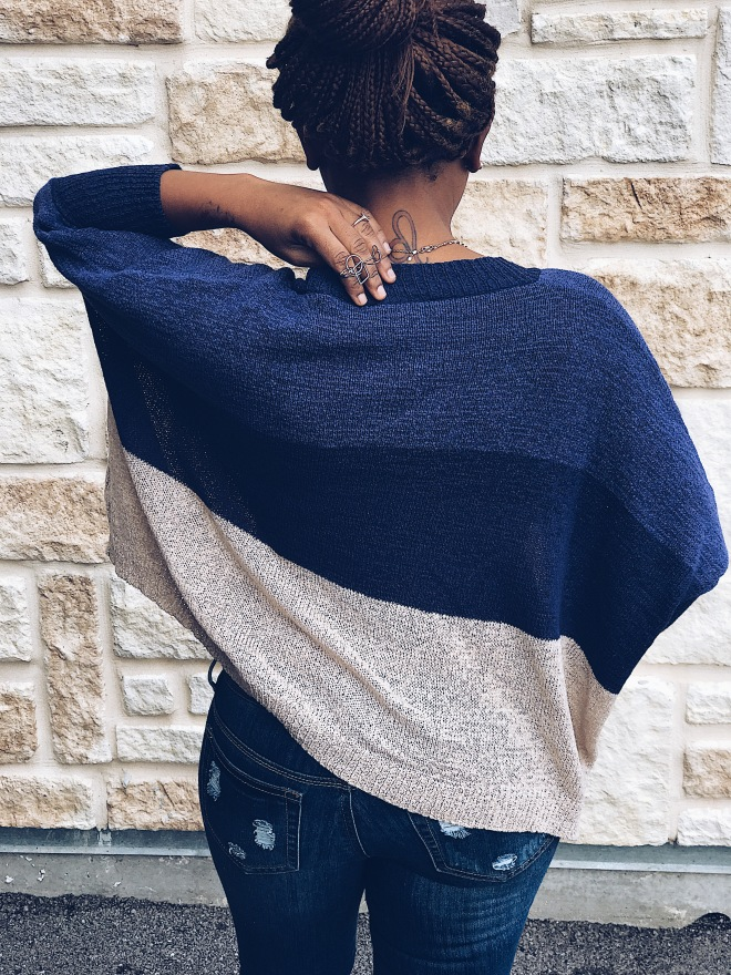 blue colorblocking Cardigan