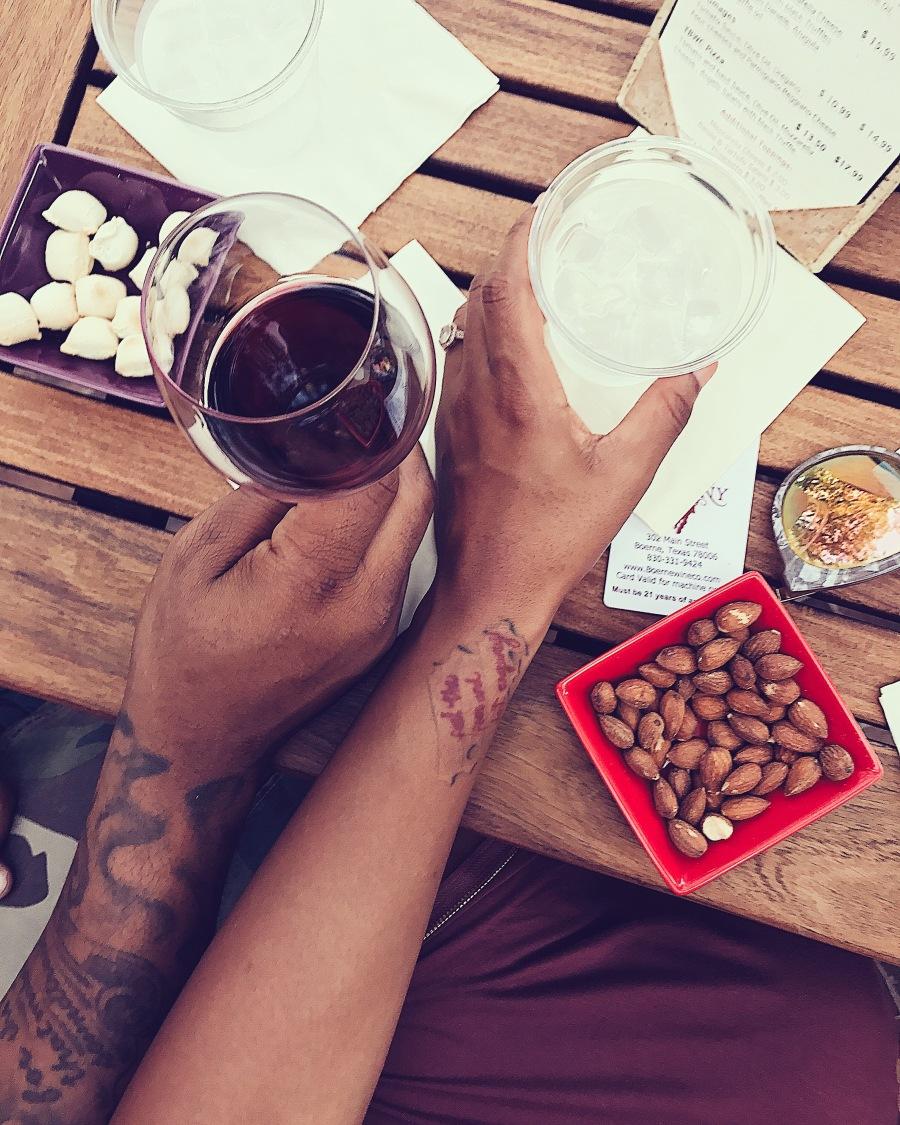 black couple on wine date