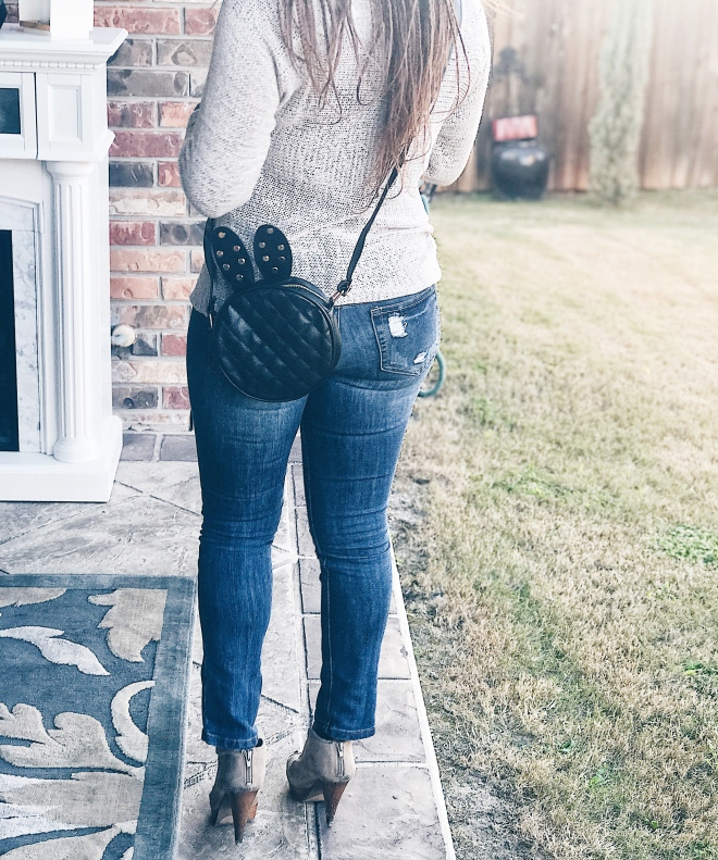 bunny shaped handbag with sweater and denim