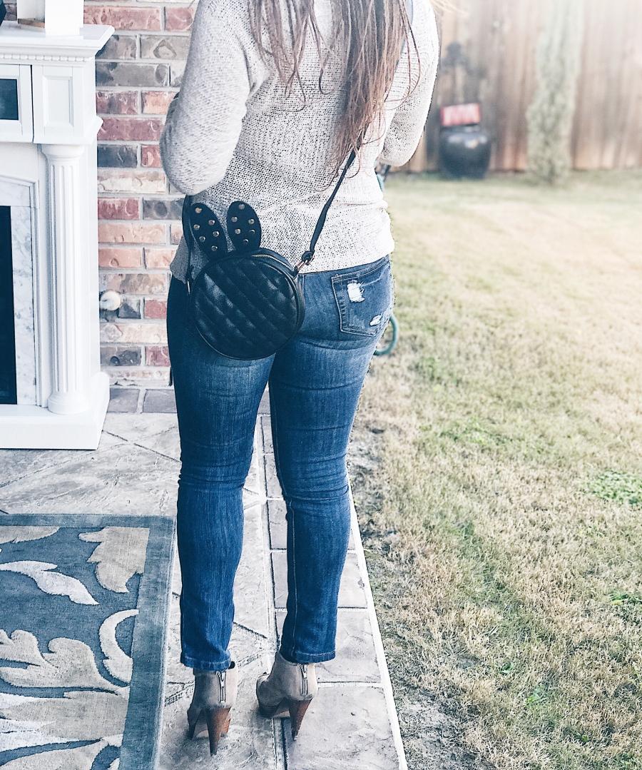 bunny shaped handbag with sweater and denim