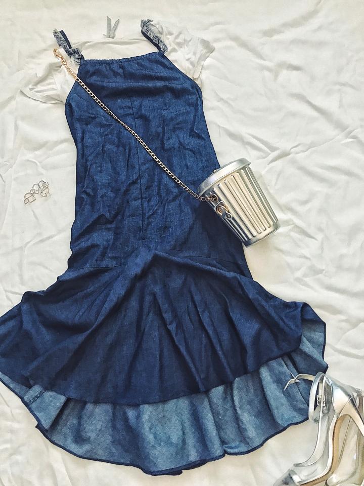 Denim dress trash can clutch silver heel