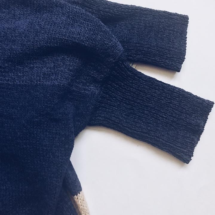 blue color block cardigan blue labels boutique