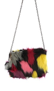faux fur clutch bag with chain link