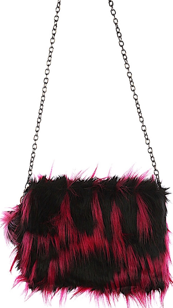 faux fur clutch bag with chain link strap