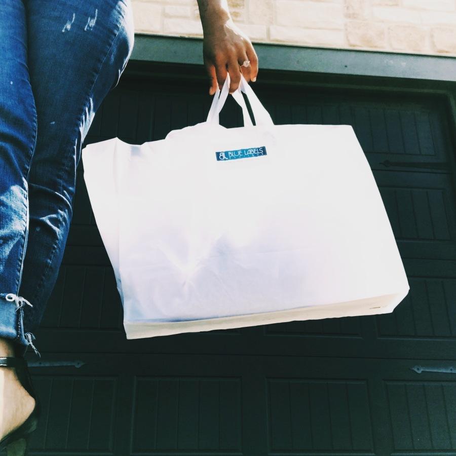 blue labels boutique shopping bag
