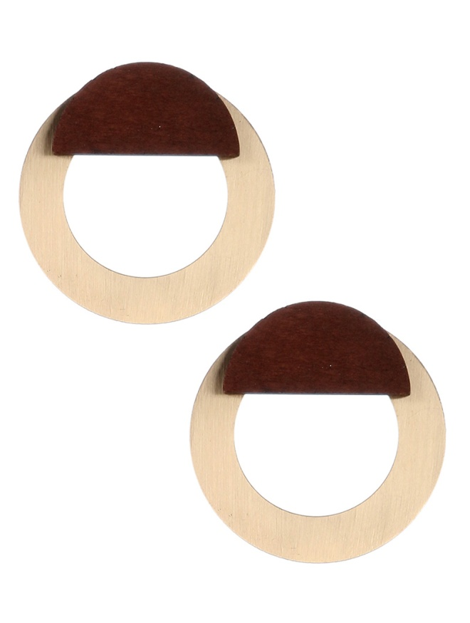 metal and wood button style earrings blue labels boutique