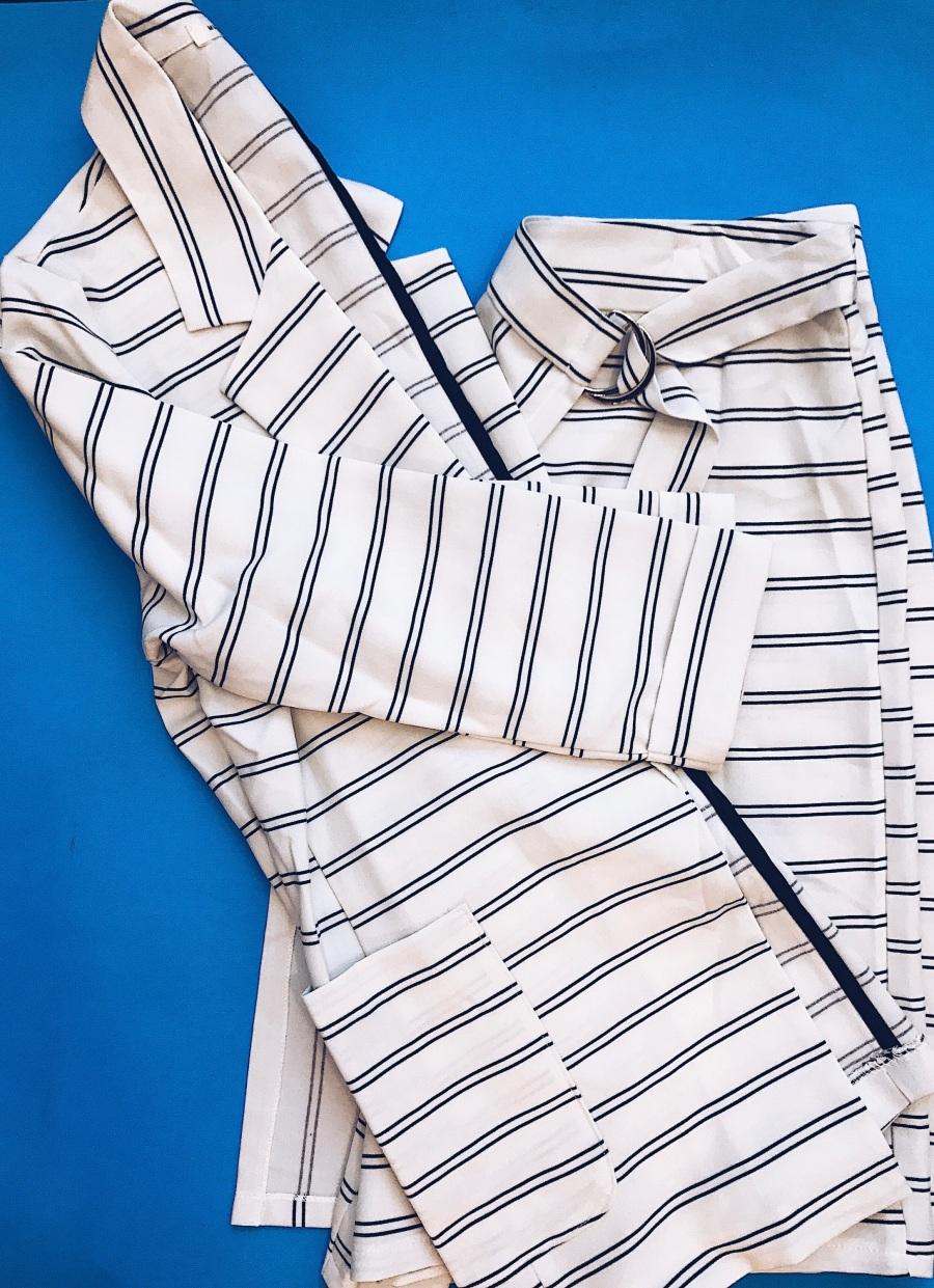 women ivory black stripe skort set blue labels boutique