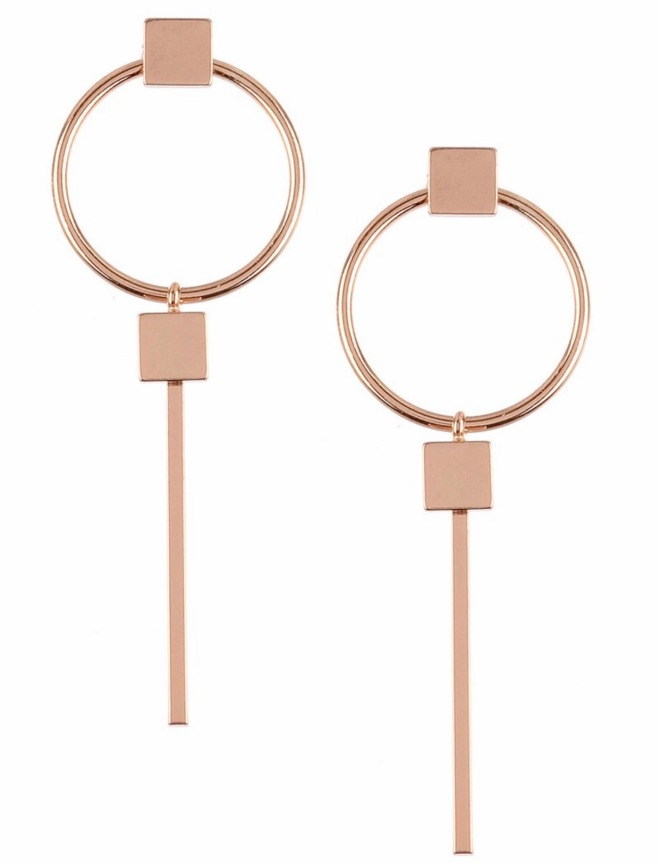 Rose gold line earrings