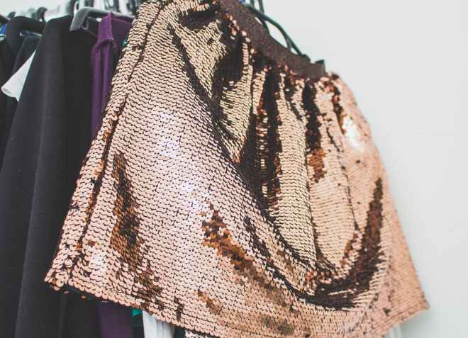 sequin skirt, do you care about the background about the brand