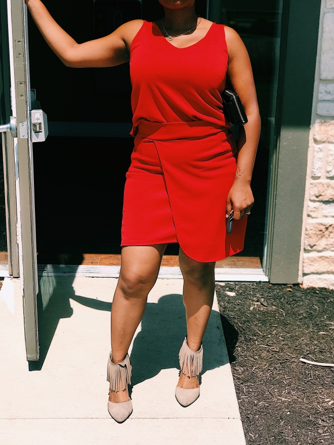 red top and wrap skirt set