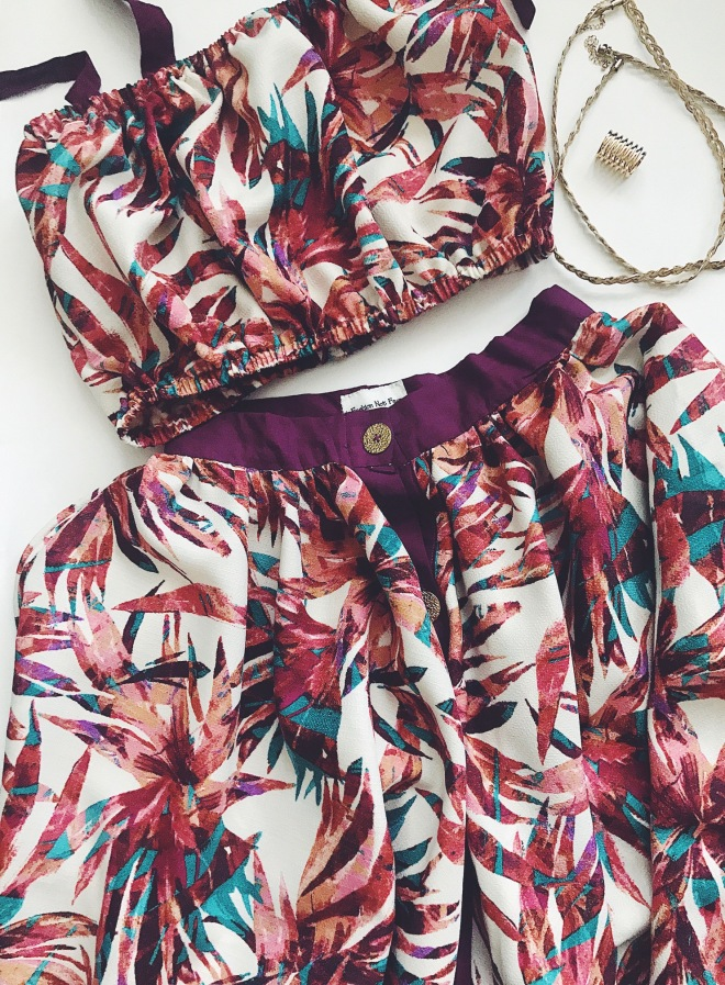 two piece floral skirt set