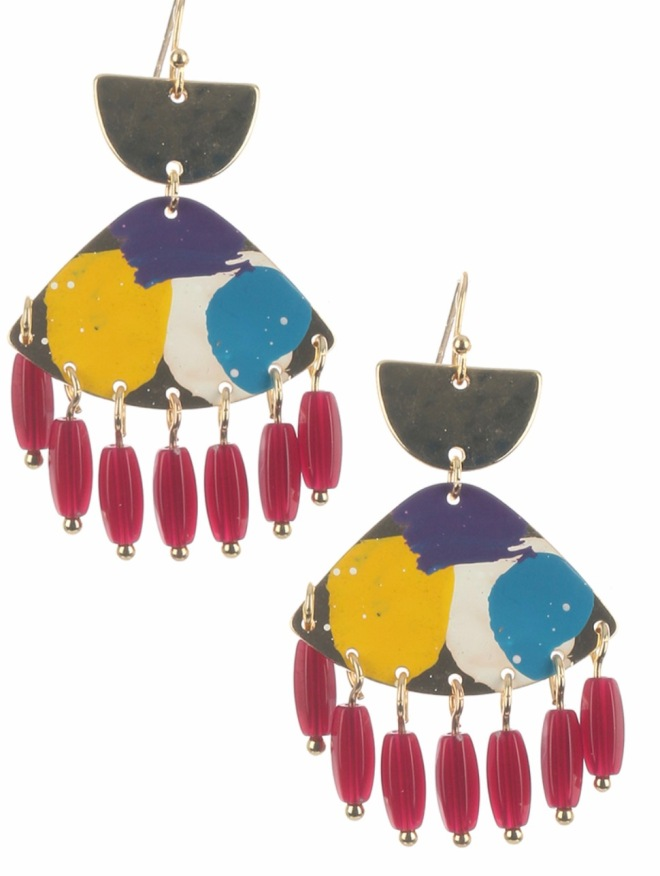 Red painted dangle earrings