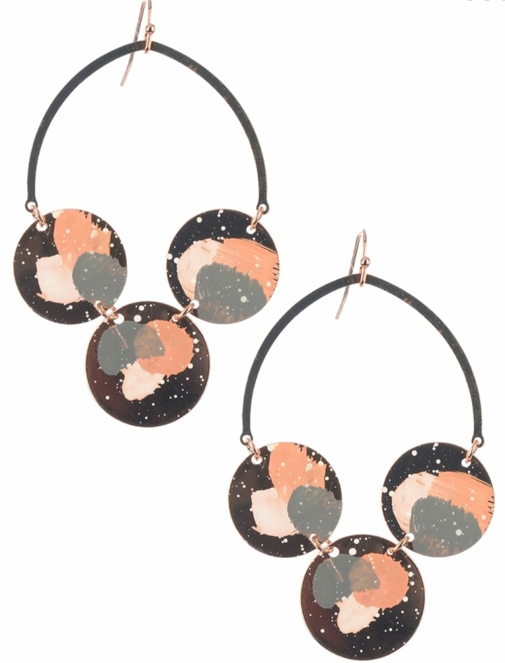 Peach painted dangle earrings