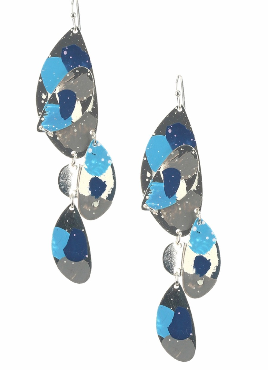 Blue painted dangle earrings