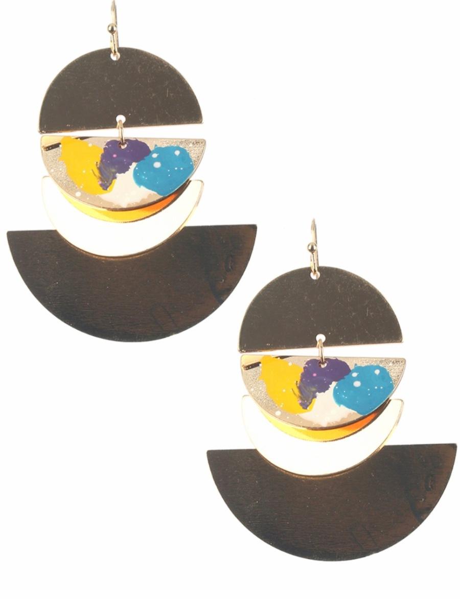 Circle painted dangle earrings