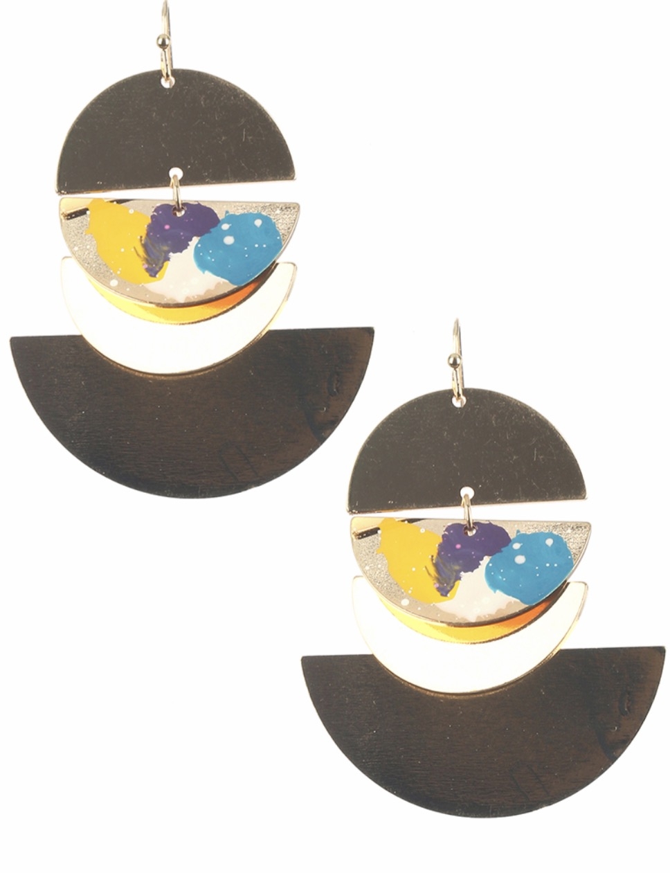 Circle painted dangle earrings