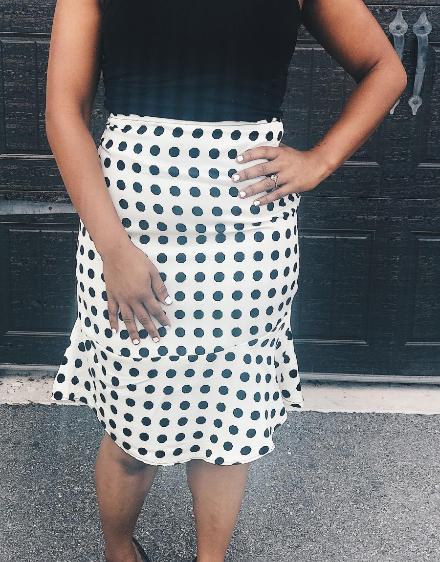 front of polka dot skirt blue labels boutique