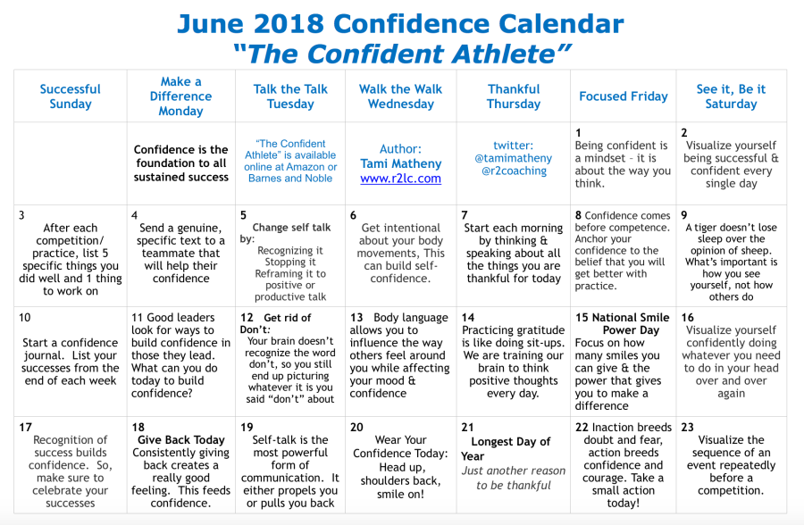 confidence calendar Tami Matheny