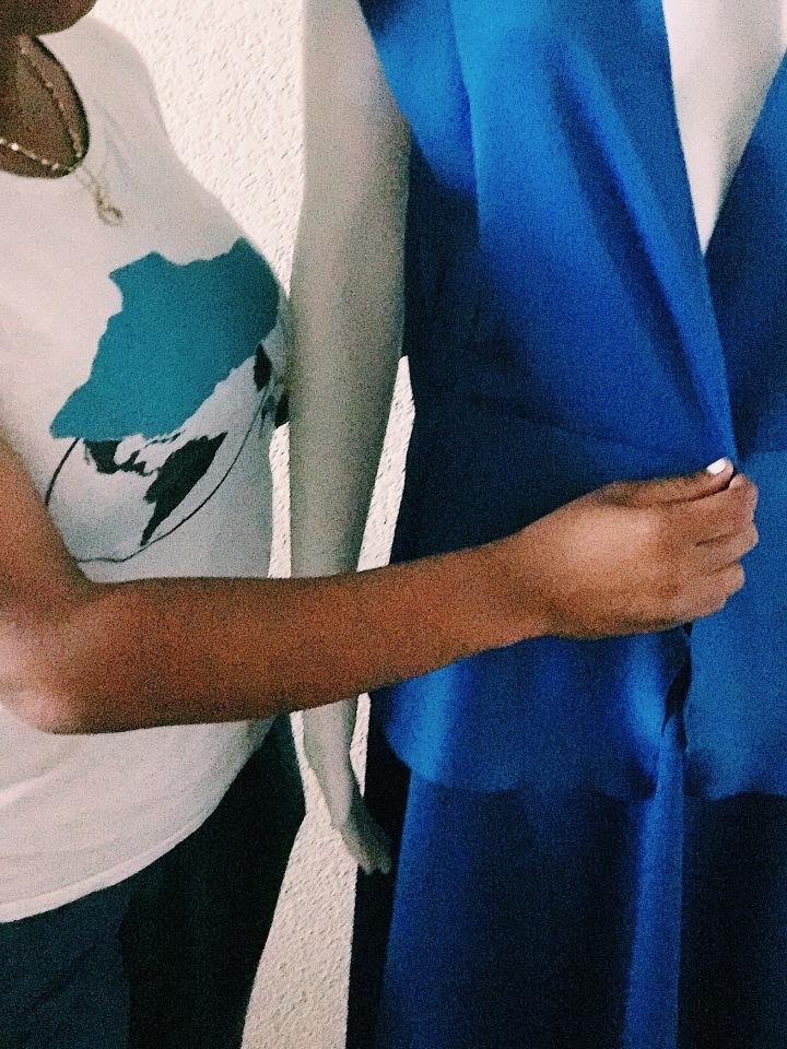 Dress designer blue skirt set blue Labels Boutique